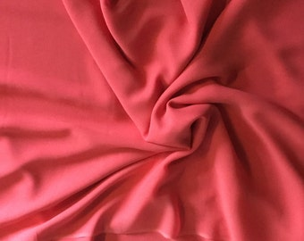 "100% Silk Chiffon, Coral, sheer with flow and very soft, 45"" wide, 6 yard piece"