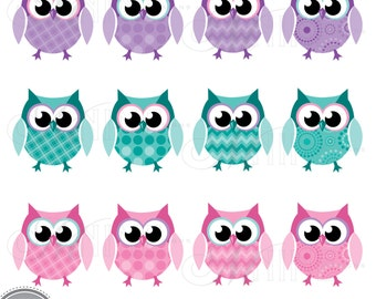 PATTERN OWLS Clip Art Digital Clipart, Instant Download, Pink Purple Teal Owl Clipart Bird Vector Art Graphics