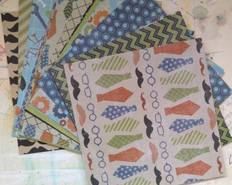 Glasses, Staches, & Ties - 6x6 Paper Pack, Scrapbooking, Cards, Mixed Media, Snail Mail, The Paper Studio, Boy Themed, Man Themed