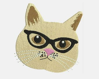 Cats With Glasses Machine Embroidery Designs - Instant Download Filled Stitches Embroidery Design 295I