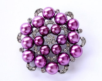 Purple Pearl Brooch, Bouquet Brooches, Bridal Brooch, Purple Brooch, Dress Sash Brooch, Wedding Brooch, Cake Brooch, Purple Brooches Wedding
