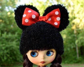 Blythe Hat With Ears and bow Blythe Outfit Blythe Doll Clothes Blythe  Hat