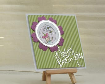 Handmade girl holding flower Birthday card