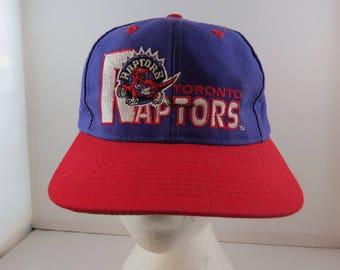 Toronto Raptors Hat (VTG) - Script Front and Logo - By Logo 7 - Adult Snapback