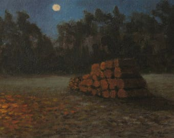 Original oil painting, 8 x 10,  moon art, nocturne, camping painting