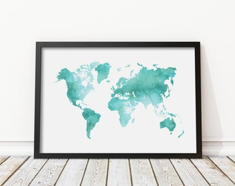 Mint Green Watercolor World Map Print - Teal World Map Poster Morden Art Nursery decor Home Wall Art Instant Download Digital Print JPG  sc 1 st  Etsy & Watercolor world map | Etsy