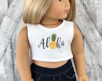 American Made Doll Clothes | Pineapple Aloha CROP TANK TOP for 18 inch doll Summer