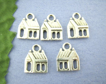 10 Antique Silver Metal Alloy House Charms 13x17mm (B282t)