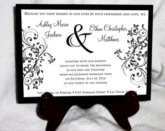 100 Damask Swirl Wedding Invitations, RSVP's, Reception Insert w/ FREE Calendar Stickers