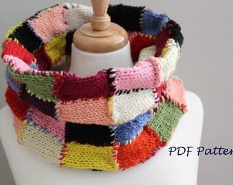 KNITTING PATTERN- The Reversible Patch Cowl PDF knitting pattern
