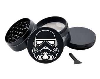 STAR WARS Storm Trooper Black Herb Grinder Engraved Metal Grinder with Glass Windows Spice Grinder Tobacco Crusher Pot Head Gift Stoners