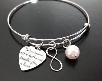The Love Between a Grandmother and Granddaughter Is Forever Stainless Steel Adjustable Bangle Bracelet Mother's Day Gift for Grandma