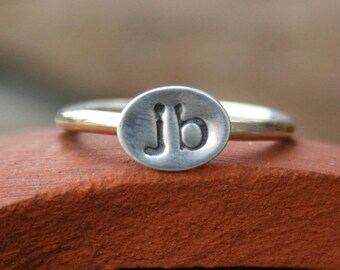 Personalized Sterling Silver Ring - Custom Initials