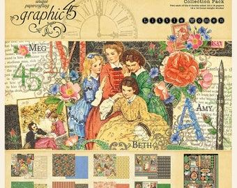 Now Shipping-Graphic 45 Little Women 12 x 12 Cardstock Collection Pack