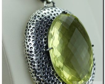Large Size Oval Cut Lemon Quartz 925 SOLID Sterling Silver Pendant + 4mm Snake Chain & FREE Worldwide Shipping p1362