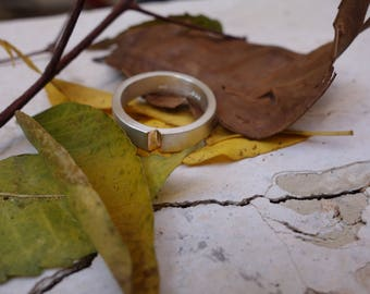 Unique wedding ring silver & Gold mixed metals Man's wedding ring Handmade wedding ring sterling silver ring Engagement Jewelry promise ring