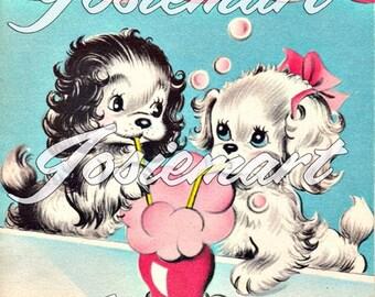 Vintage Digital Download Puppy Love Soda Shop Vintage Image Collage Large JPG