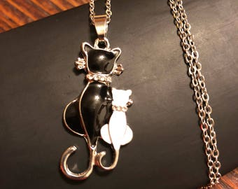 Black Cat Necklace  - cat jewelry - black and white cats - Silver tone - rhinestone collars