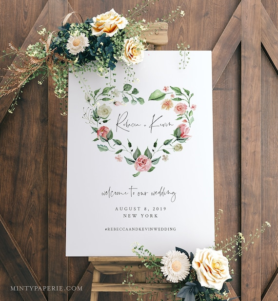Printable Wedding Welcome Sign, Instant Download, 100% Editable Text, Boho Bridal Shower Sign Template, Floral Heart Wreath, DIY #058-129LS