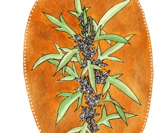 botanical greeting cards- artemisia with crystals drawing printed on linen paper- original art cards