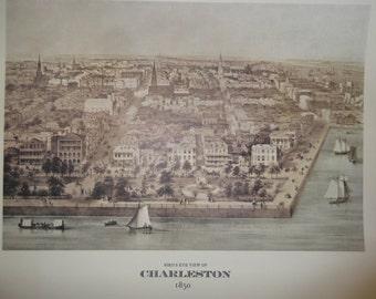 Charleston, South Carolina print, bird's eye view of Charleston Harbor