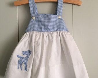 Handmade Vintage Blue Gingham Deer Pinafore Baby Girl