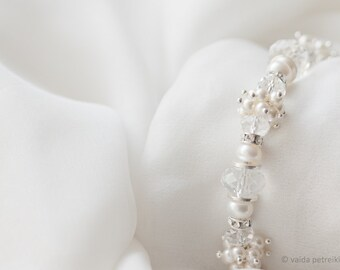 Bridal bracelet - Vintage style freshwater pearl and crystals jewelry perfect for weddings special occasion or everyday wear