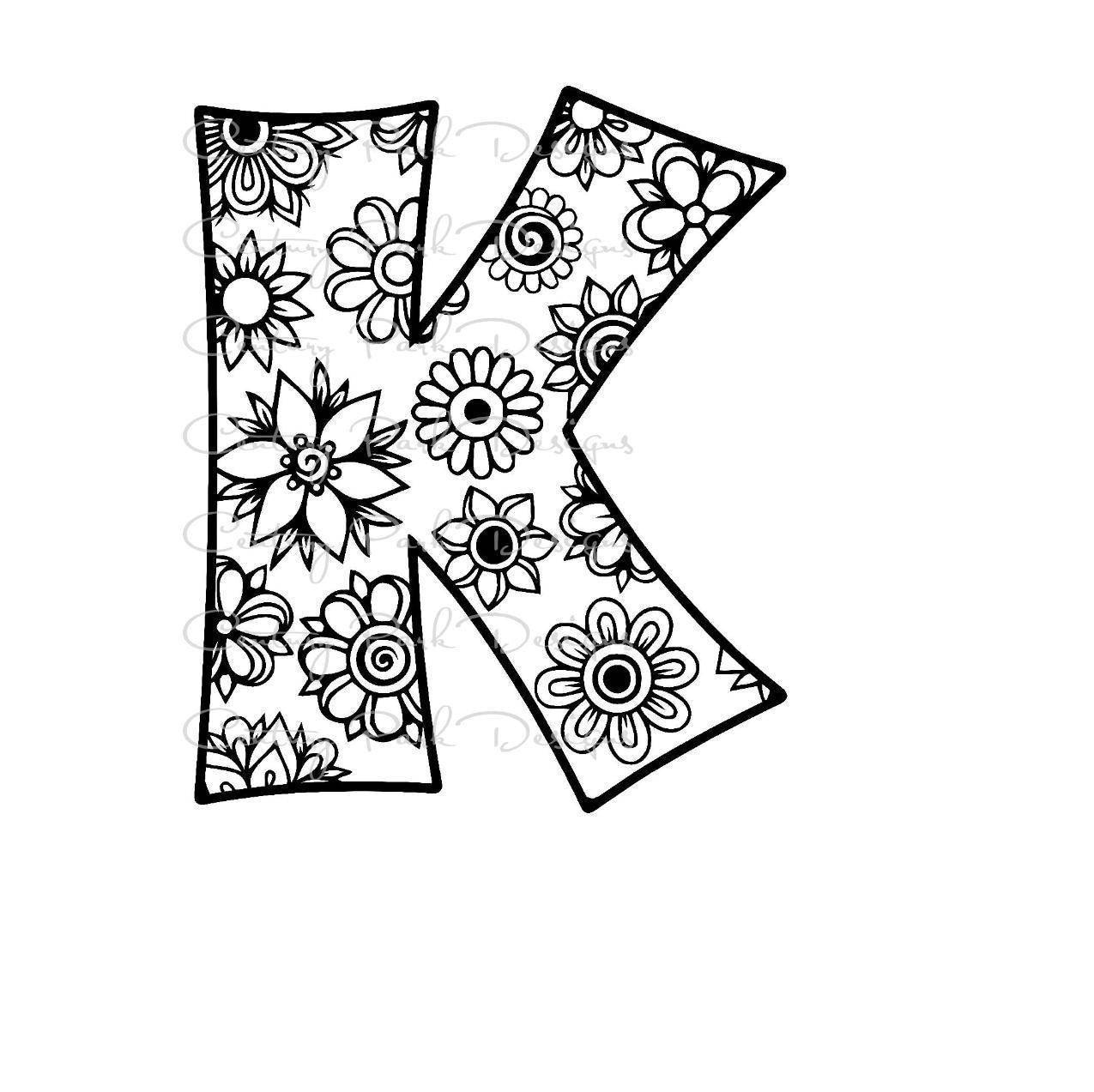 Letter K Alphabet Flowers SVG / JPEG / PNG /pdf / use with