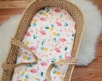Cactus Moses Basket Sheet - Flamingo Moses Basket Sheet - Cactus Nursery Decor - Flamingo Nursery - Modern Baby Bedding - Modern Nursery