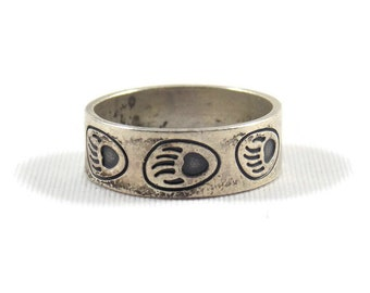 Sterling Silver South Western Bear Paw Print Band Ring, Sterling Ring, South Western Ring, CMWO, Promise Ring, Native American
