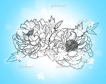 Flower Peony - Line Art Digital Stamp Image Adult Coloring Page Printable Instant Download