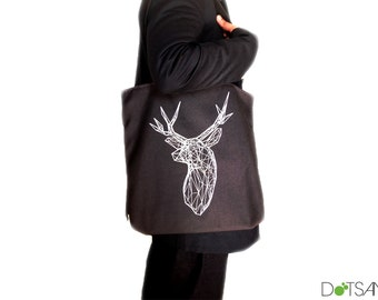 Stag Deer Trophy Head black Tote Bag