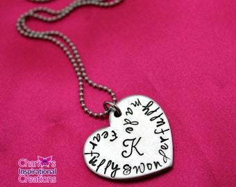 Personalized Fearfully and Wonderfully Made Monogram heart necklace
