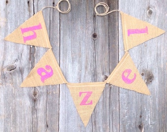 Custom Name Banner - Baby Decor - Personalized Banner -nursery decor - photo prop - sign -burlap banner - pennants