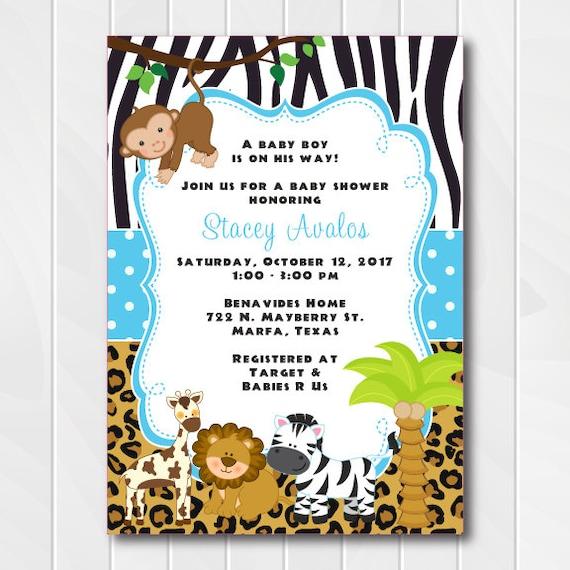 Jungle Safari Invitations For Boys Safari Baby Shower Invite