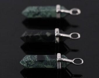Smooth Green jasper Hexagon Point Pendant,Faceted Jasper double point,Polished Stick Reiki Chakra beads Pendant,3pcs,5pcs,10pcs/lot