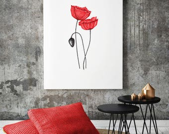 Floral Wall Art, Poppy Wall Art Print, Flower art print Home Decor, poppy painting, poppy art, red poppies, flowers art print, flower print