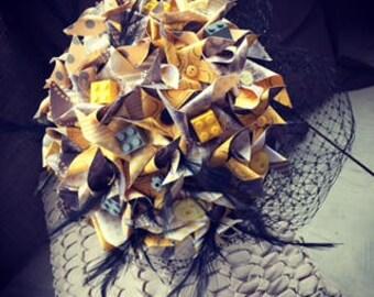 Paper Pinwheels, Wedding, Bridal Bouquet, Alternative Bouquet, Lego Bouquet, Quirky Bouquet