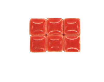 1 oz - 5 mm size Chili Red Ceramic Mosaic Tiles - approximately 190 - 200 tiles
