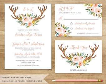Antler and Flowers Wedding Invitation. Printable Wedding Invitation. Country Invitation. Horn Wedding Invite. Rustic Wedding Invitation