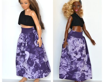 Skirt for Lammily /curvy barbie, doll clothes, handmade doll clothes, curvy barbie skirt, curvy barbie clothes, curvy barbie outfit LCBSv01