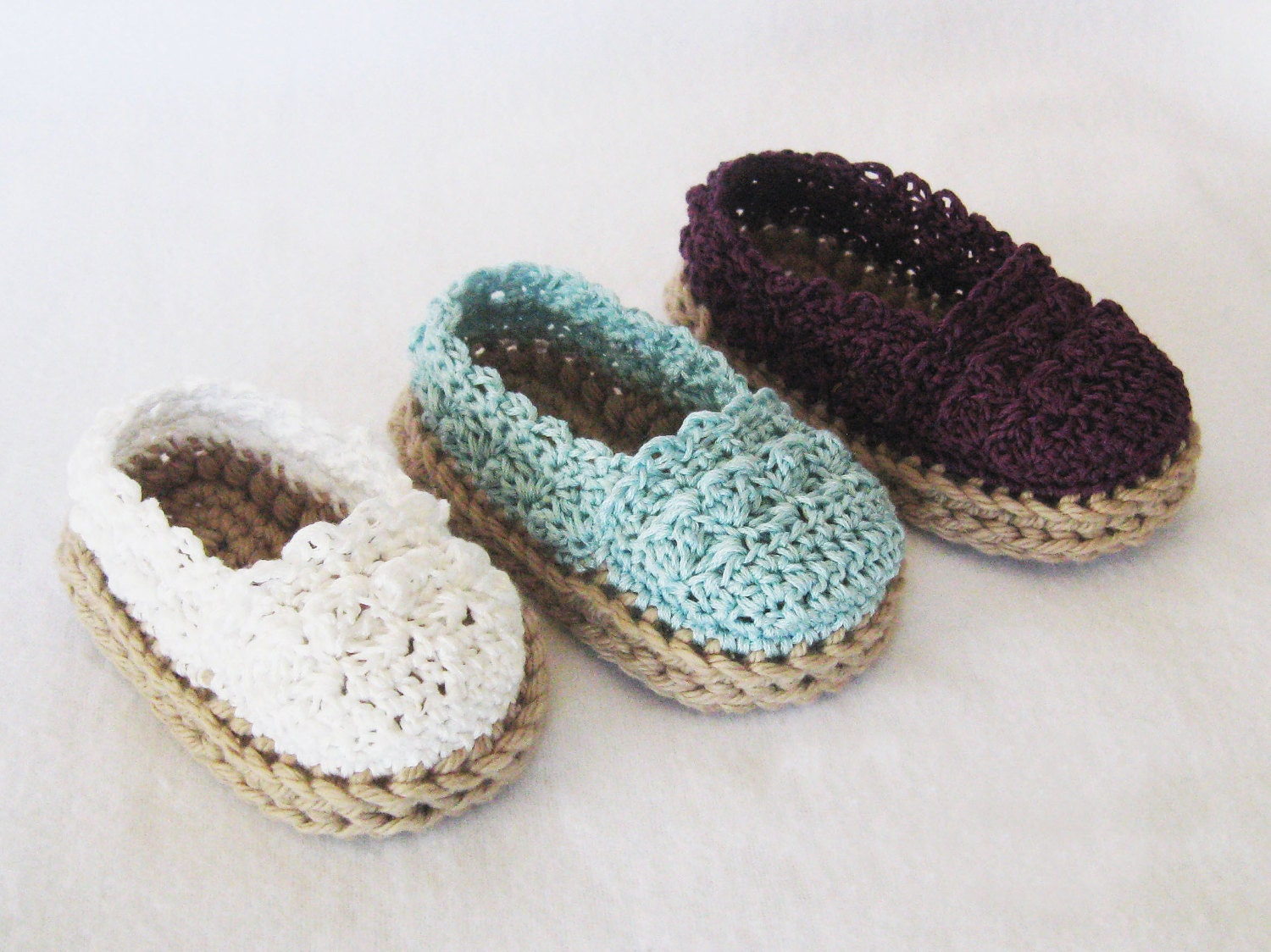 CROCHET PATTERN Baby Girl Espadrille Shoes (4 sizes included from 0 ...