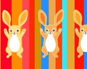 Three Bold Bunnies - small - childrens wall art