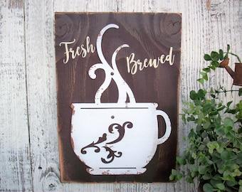Coffee Sign / fresh brewed coffee / kitchen decor / rustic sign / housewarming gift / wedding gift