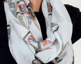 Sailboat Pattern Scraf White Scarf Infinity Scarf Fall Winter Birthday Woman Gift For Her Wife Winter Fashion Accessories