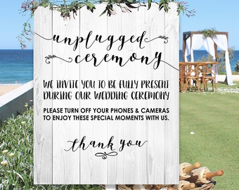 Unplugged Ceremony Beach Wedding Poster - INSTANT DOWNLOAD - Wedding Art Sign, Wood, Whitewash, Timber, No Social Media, Phones Cameras