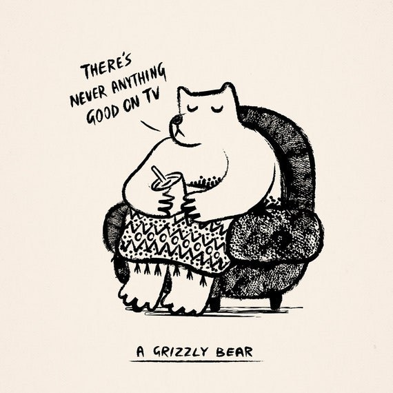 A Grizzly Bear - animal art poster print by Oliver Lake - iOTA iLLUSTRATiON