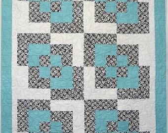 Aqua Corner Play Handmade Patchwork Quilt