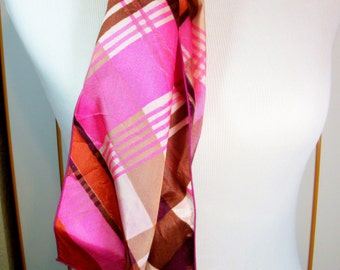 Vintage Shades of Pink and Red Plaid Scarf, 48.5 Inches by 6.5 Inches, Belt or Scarf, Previously Fifteen Dollars ON SALE