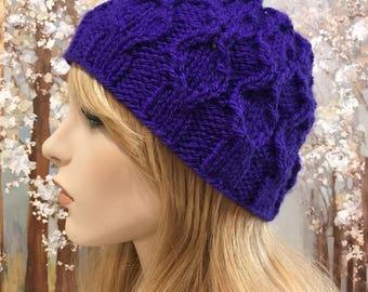 Women's Knitted hat, Purple color Chunky Knit Hat ' Krystal-III'